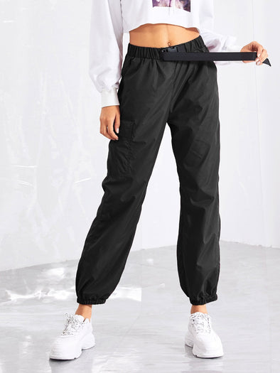 SHEIN Pocket Side Drawstring Waist Utility Pants