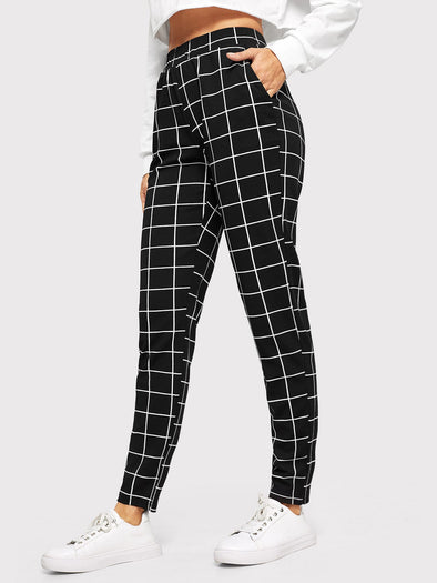 SHEIN Elastic Waist Slant Pocket Grid Pants