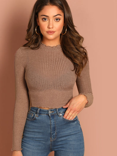 SHEIN Lettuce Trim Ribbed Crop Top