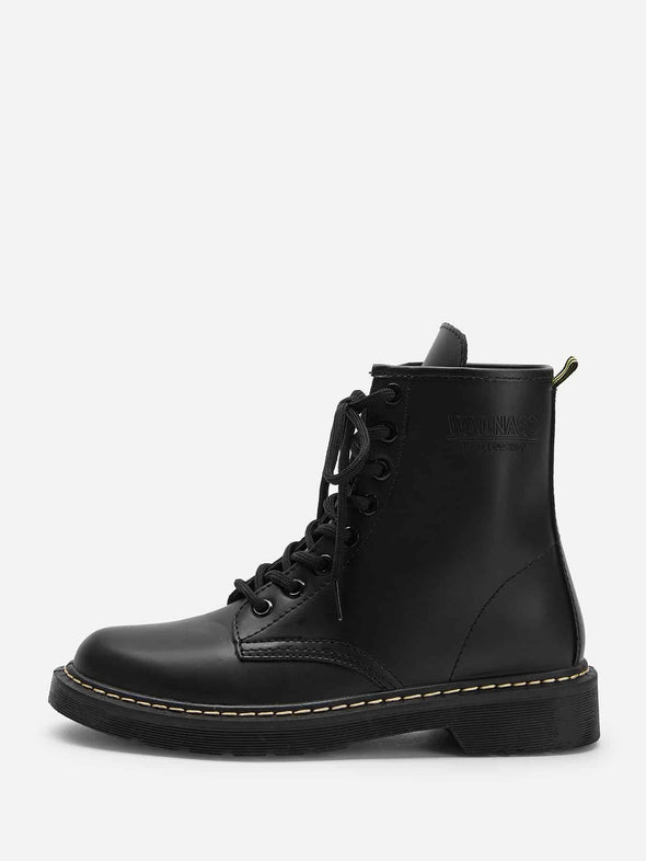 Solid Lace-up Combat Boots