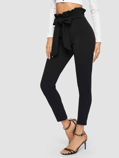 SHEIN Paperbag Waist Skinny Pants With Belt