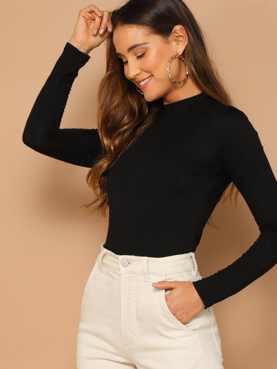 SHEIN Solid  Mock Neck Fitted Tee