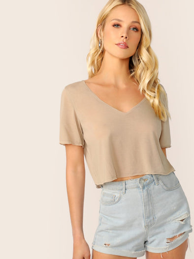 SHEIN V-neck Solid Crop Tee