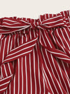 Striped Tie Front Paperbag Shorts