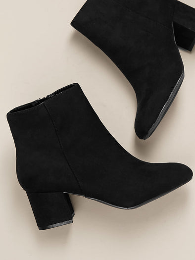 Almond Toe Chunky Heel Side Zip Booties