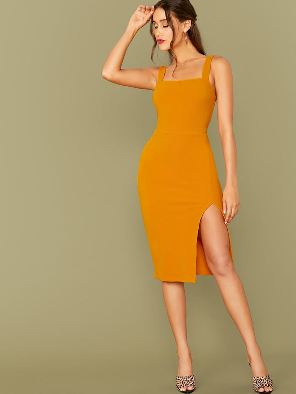 SHEIN Thick Strap Split Thigh Dress
