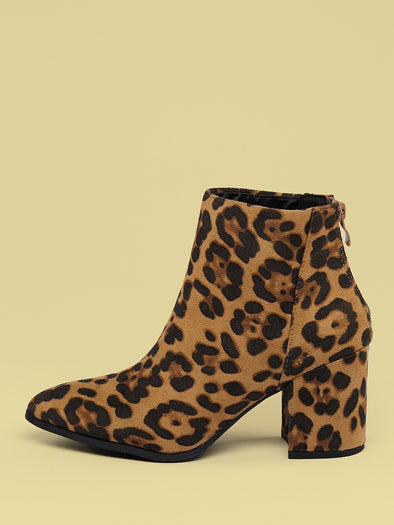 Pointed Toe Chunky Heel Leopard Booties