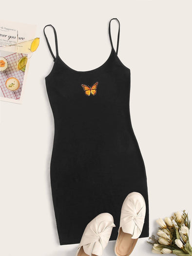 SHEIN Butterfly Print Cami Dress With Adjustable Strap