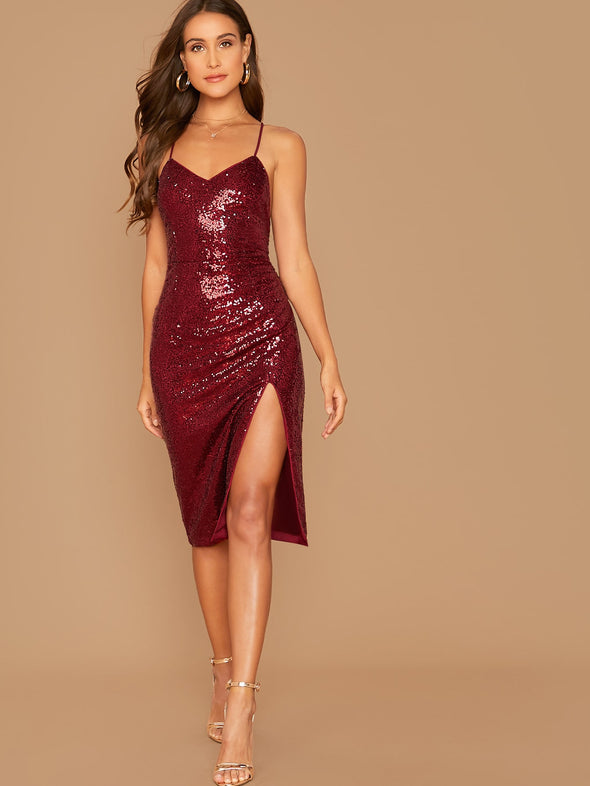 SHEIN Split Thigh Sequin Slip Dress
