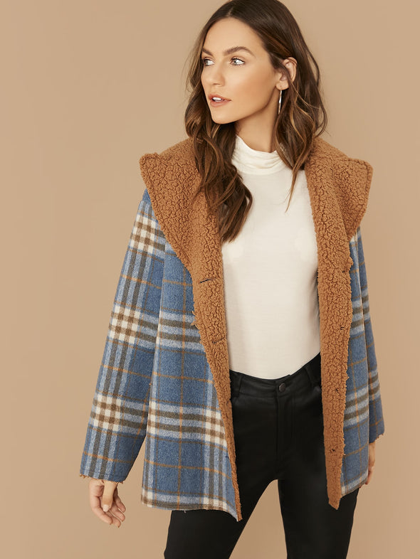 SHEIN Single Breasted Contrast Lining Plaid Coat