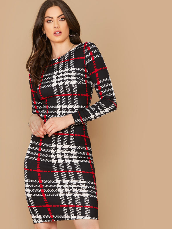 SHEIN Plaid Print Fitted Dress