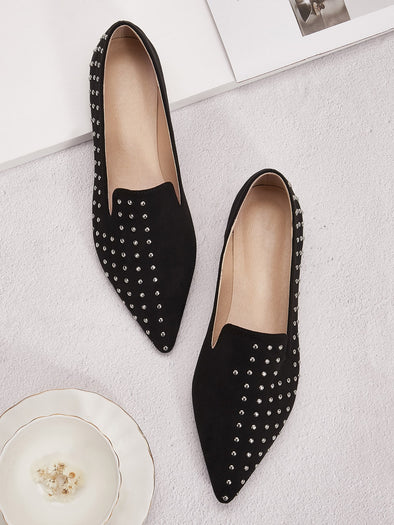 Studded Decor Point Toe Flat Loafers