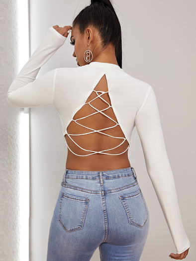 Open Back Criss Cross Crop Tee