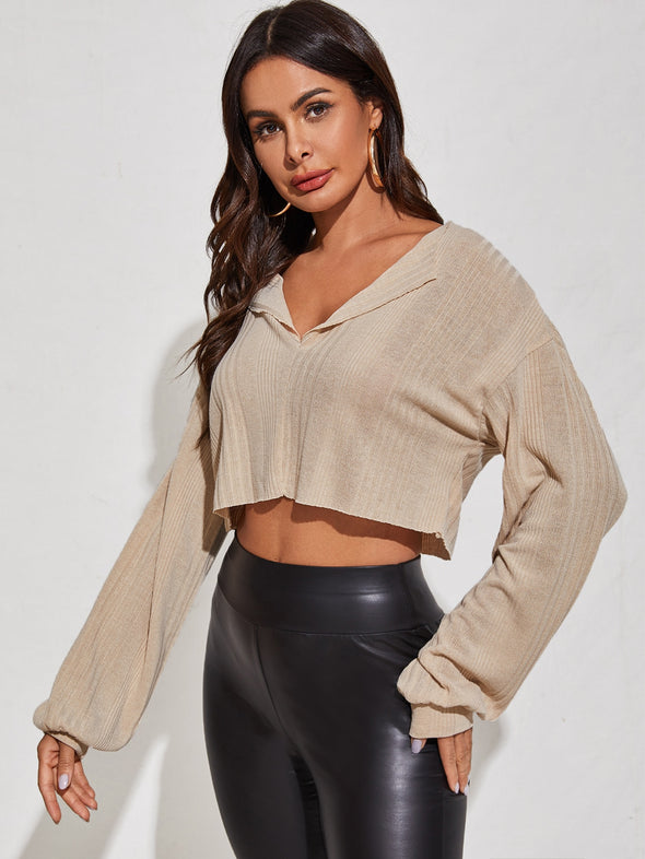 SHEIN Drop Shoulder Notched Neck Rib-knit Top