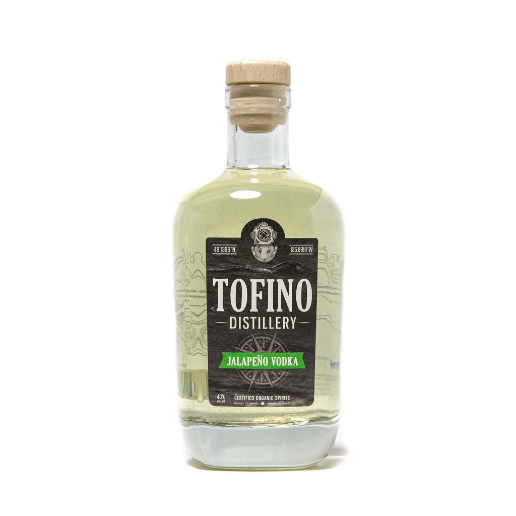 Tofino Distillery's JALAPENO VOLDKA made locally in Tofino, BC. Enjoyed responsibly by cocktail lovers in Vancouver, Victoria, Kelowna, All over British Columbia and Canada.
