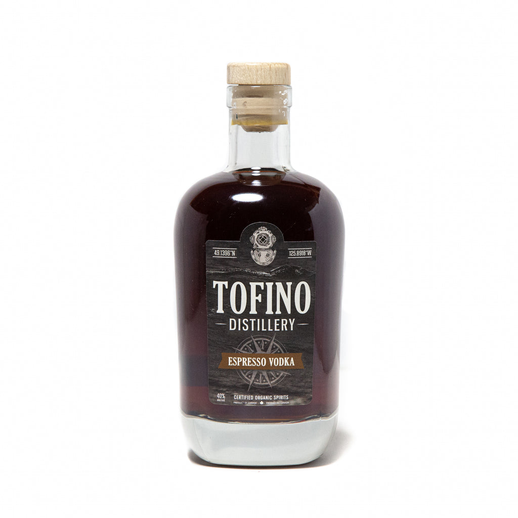 Tofino Distillery's ESPRESSO VOLDKA made locally in Tofino, BC. Enjoyed responsibly by cocktail lovers in Vancouver, Victoria, Kelowna, All over British Columbia and Canada.