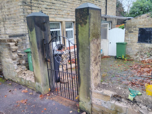 Pair Of Reclaimed Yorkstone Yorkshire Stone Gateposts