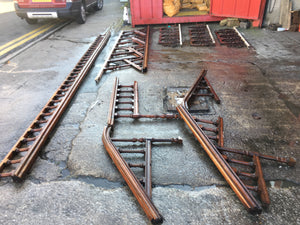 Reclaimed Victorian Mahogany Banister/Stair Rail Cast Iron Inserts 14 Metres