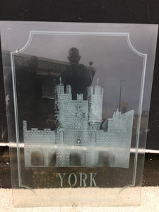 'YORK CASTLE' Acid Etched And Sandblasted Glass Panel
