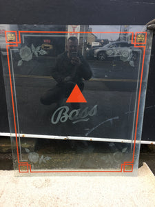 'BASS' PUB WINDOW / GLASS PANEL ACID ETCHED AND HAND PAINTED