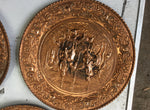 Vintage Copper Wall Plates Embossed Picture Set of 4