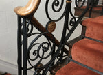 Antique Ornate Hand Made Wrought Iron Banister With Oak Handrail