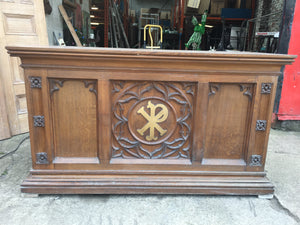 LARGE ANTIQUE CARVED OAK CHURCH ALTER TABLE CHAPEL FURNITURE