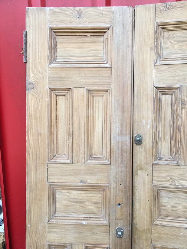 VICTORIAN DOUBLE CHURCH DOORS RECLAIMED ANTIQUE C1900 PITCH PINE