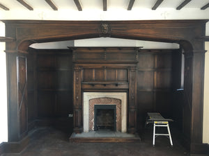RECLAIMED ANTIQUE OAK ARCHWAY,PANELLING AND FIREPLACE CARVED LIONS HEAD CENTRE PIECE