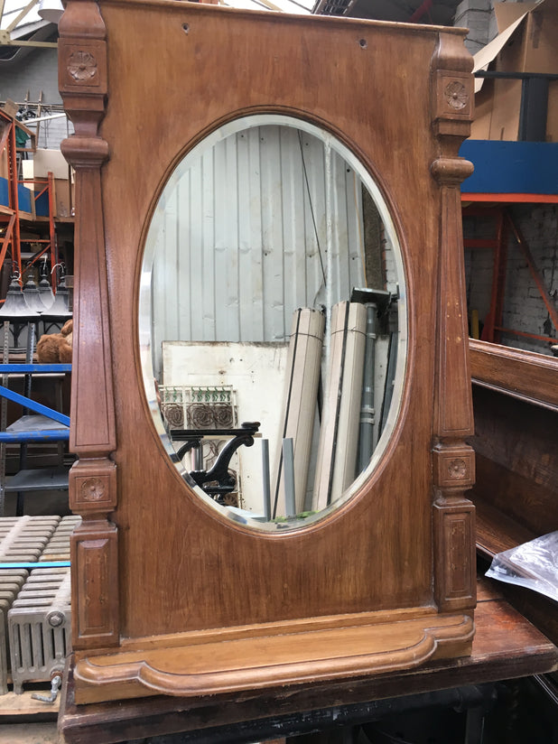 Vintage Pine Hall Way Mirror With Shelf Unit Reclaimed