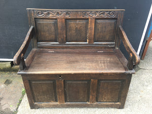 Antique Carved Oak Settle Hall Seat Monks Bench Needs Restoration