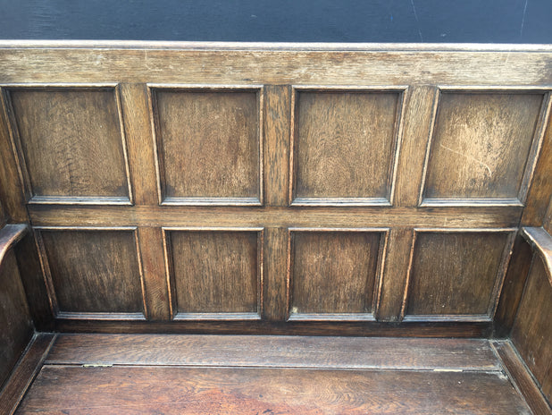 Antique Oak Settle Hall Seat Monks Bench Needs Restoration