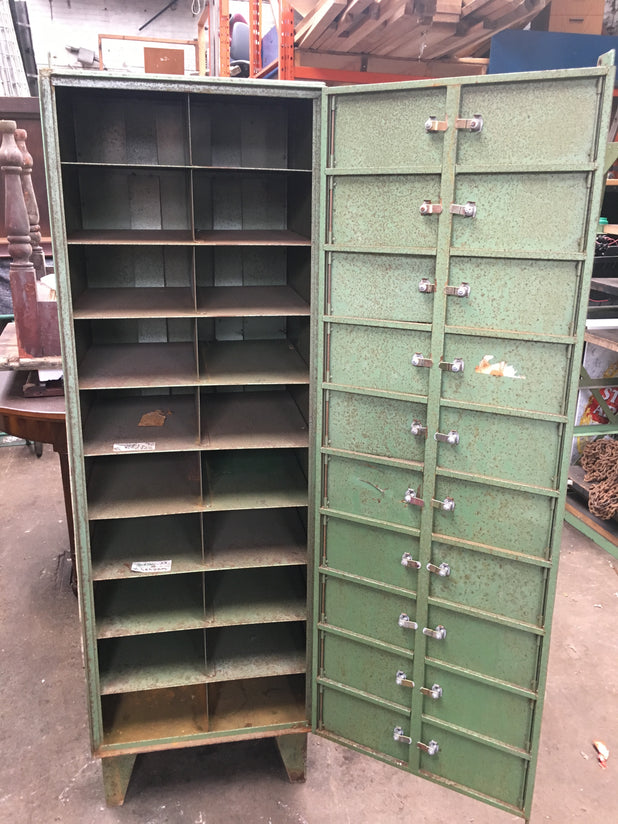 Vintage Steel Green Industrial Storage Lockers