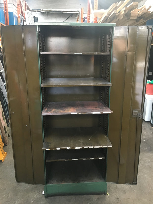 Reclaimed Vintage industrial storage heavy steel metal cabinet.