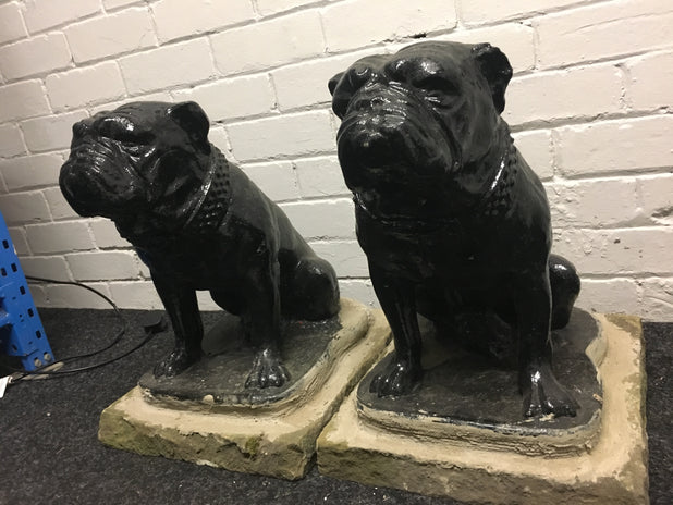 Pair Of Large British Bulldog Garden Ornaments / Statues