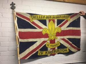 Original 7'6 scout troop Union Jack flag standard with top finial