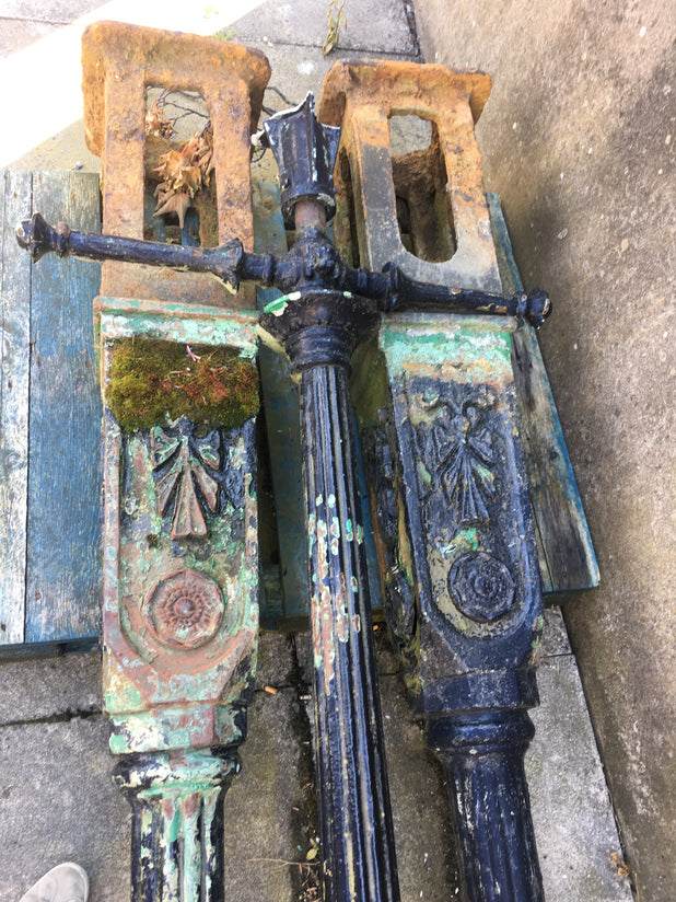 Victorian Decorative Cast Iron Lamp Posts Dated 1848 With Yorkshire Rose