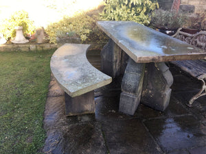 Reclaimed Yorkshire Stone Table and Bench