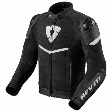 REV'IT! Mantis Hybrid Leather Textile Mesh Jacket - Black-White