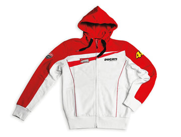 Ducati Mens Valentino Rossi D46 Team Moto GP Full Zip Hooded Sweatshirt