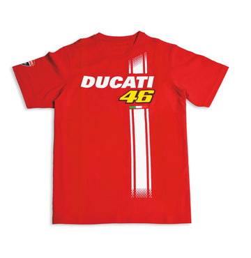 Ducati Mens Valentino Rossi D46 Stripe Fan Short Sleeve T-shirt