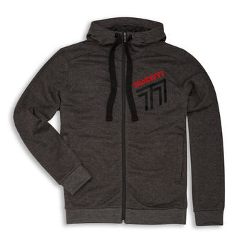 Ducati 77 Retro Graphic Full Zip Hooded Sweatshirt