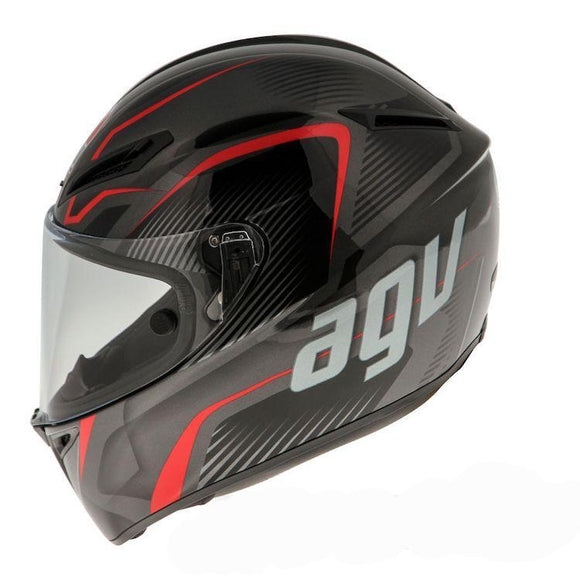AGV GT-VELOCE TXT Black Gunmetal Red Helmet Size Medium/Small