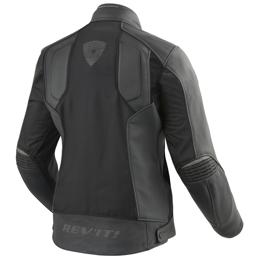 REV'IT! Womens Ignition 3 Perforated Leather & Mesh Motorcycle Jacket Black
