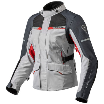 REV'IT! Women's Outback 2 Textile Motorcycle Jacket Silver/Red