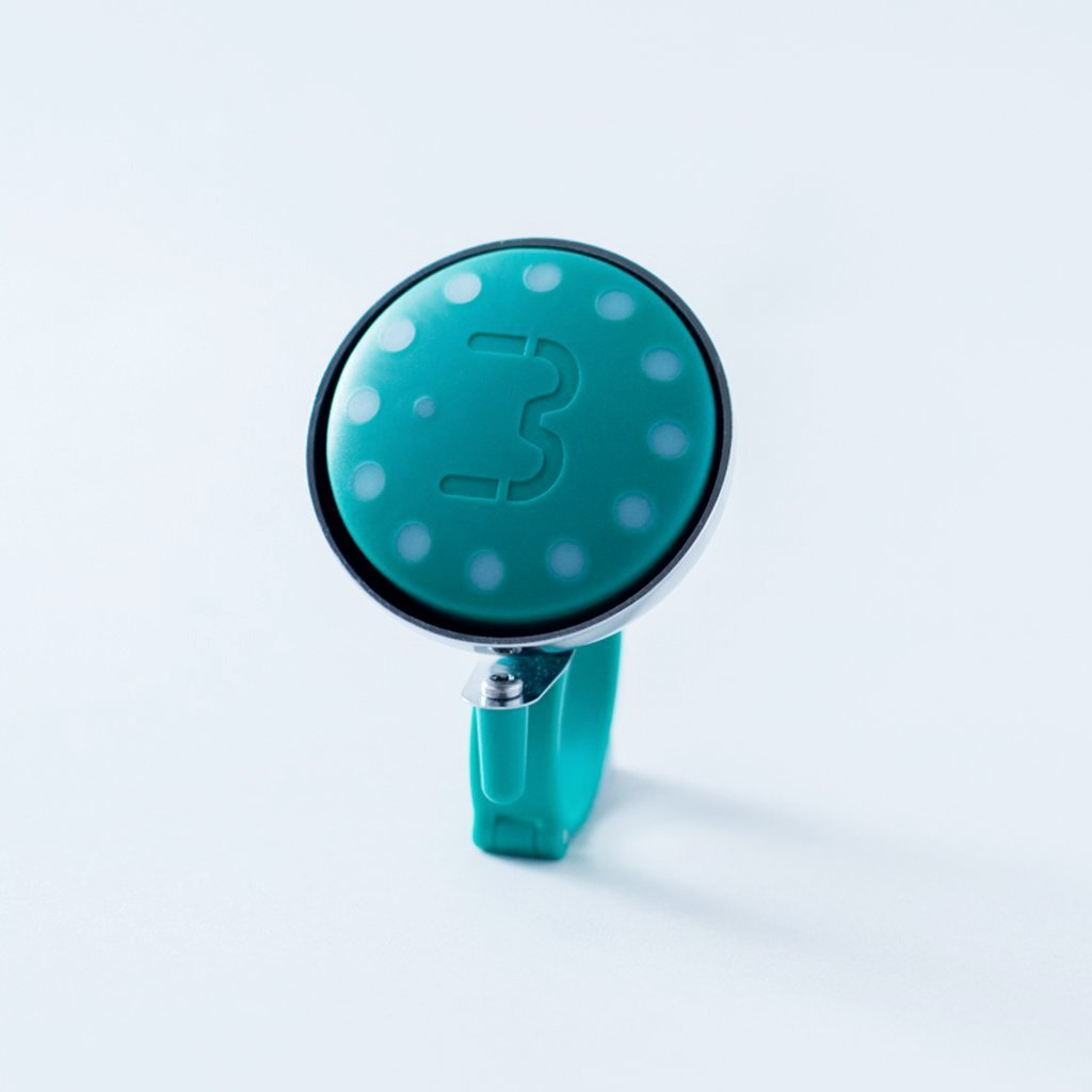 Green Blubel navigation device with a matching bell mount in silver tone