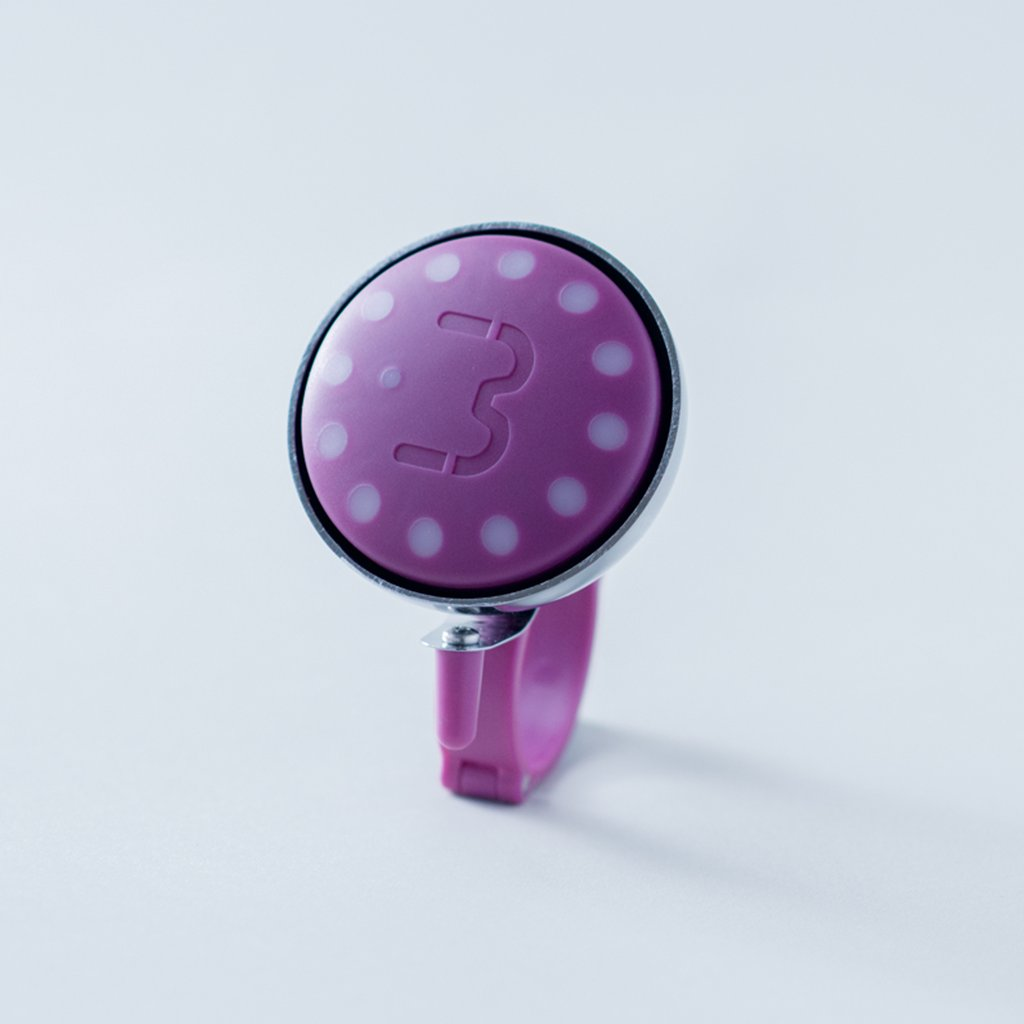 Fuchsia Blubel navigation device with a matching bell mount in silver tone