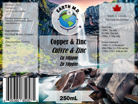 Colloidal Copper 10ppm & Zinc 10ppm 250mL - Earth MD