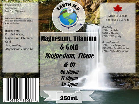 Colloidal Magnesium 10ppm, Titanium 10ppm  & Gold 5ppm 250mL - Earth MD