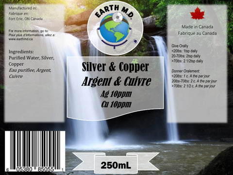 Colloidal Silver 10ppm & Copper 10ppm 250mL - Earth MD